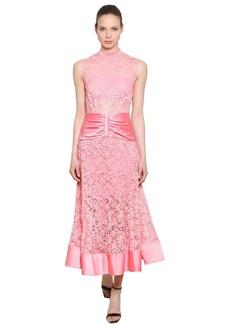 Self Portrait Floral Lace & Satin Midi Dress