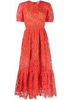Self Portrait floral lace midi dress