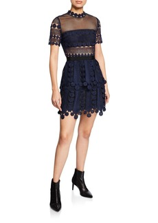 Self Portrait Floral Lace Short-Sleeve Tiered Cocktail Dress