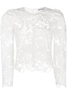 Self Portrait floral-pattern sheer blouse