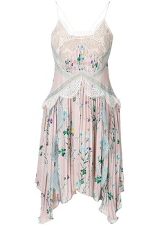 Self Portrait floral print asymmetric dress with lace inserts