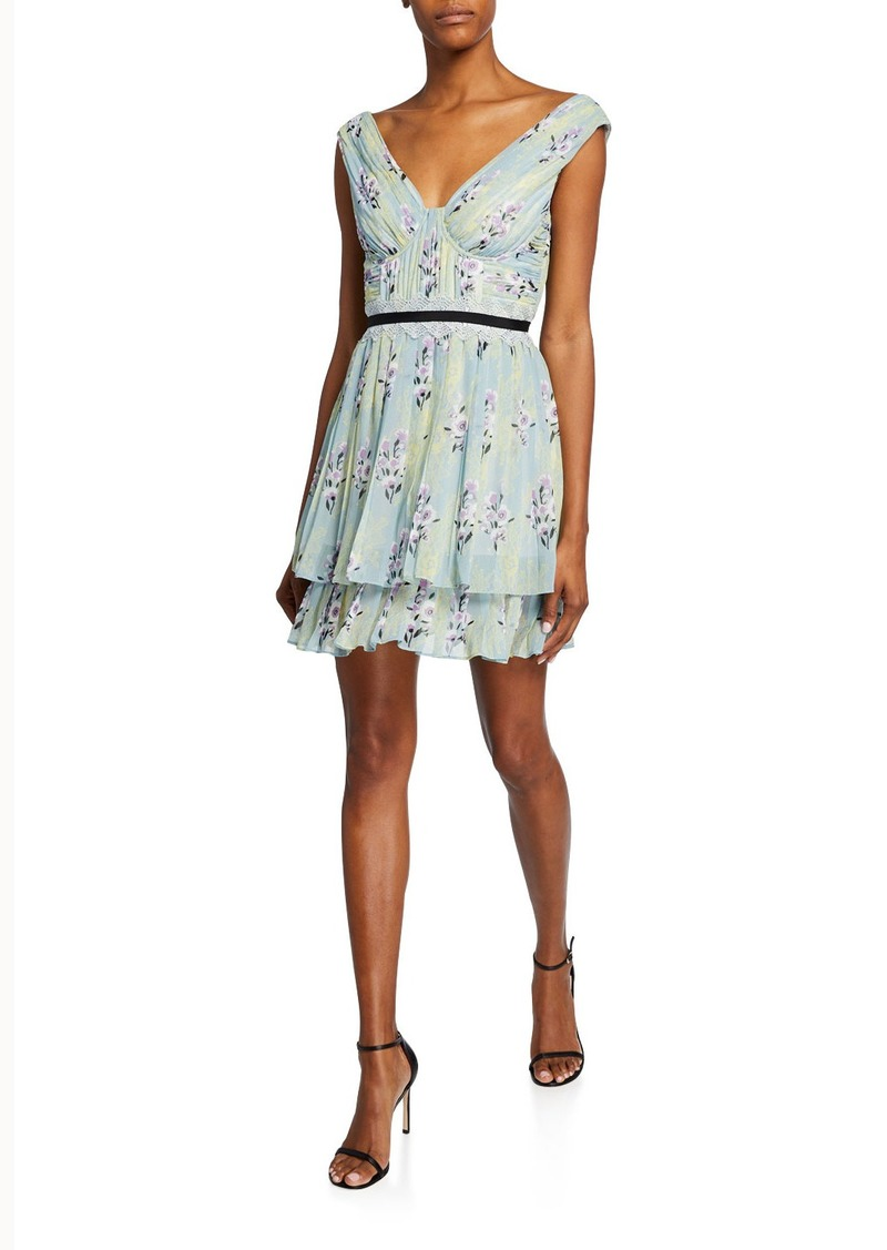 Floral-Print Chiffon Pleated Ruffle Dress