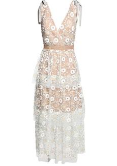 Self Portrait Floral Sequin Lace Midi Dress