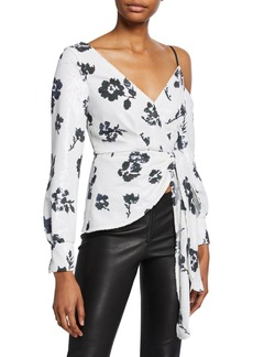 Self Portrait Floral Sequined Cold-Shoulder Wrap Top
