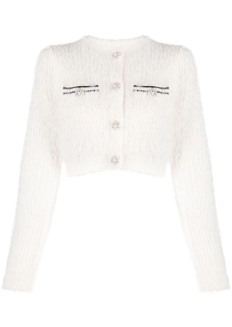 fluffy cropped knitted cardigan