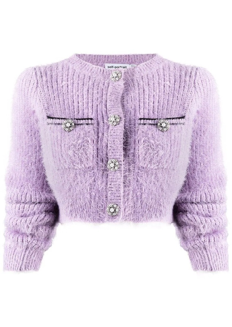 fluffy-knit cropped cardigan