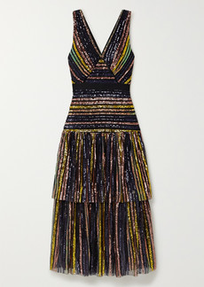 Self Portrait Grosgrain-trimmed Tiered Striped Sequined Tulle Midi Dress