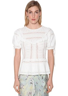 Self Portrait Ivory Techno Knit Lace Top