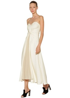 Self Portrait Knotted And Pleated Jersey Long Dress
