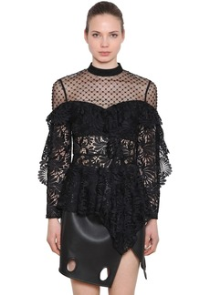 Self Portrait Lace & Beaded Tulle Top