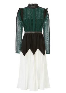 Self Portrait Lace Bodice And Pleated Skirt Gown