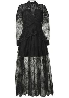 Self Portrait lace-embroidered flared dress