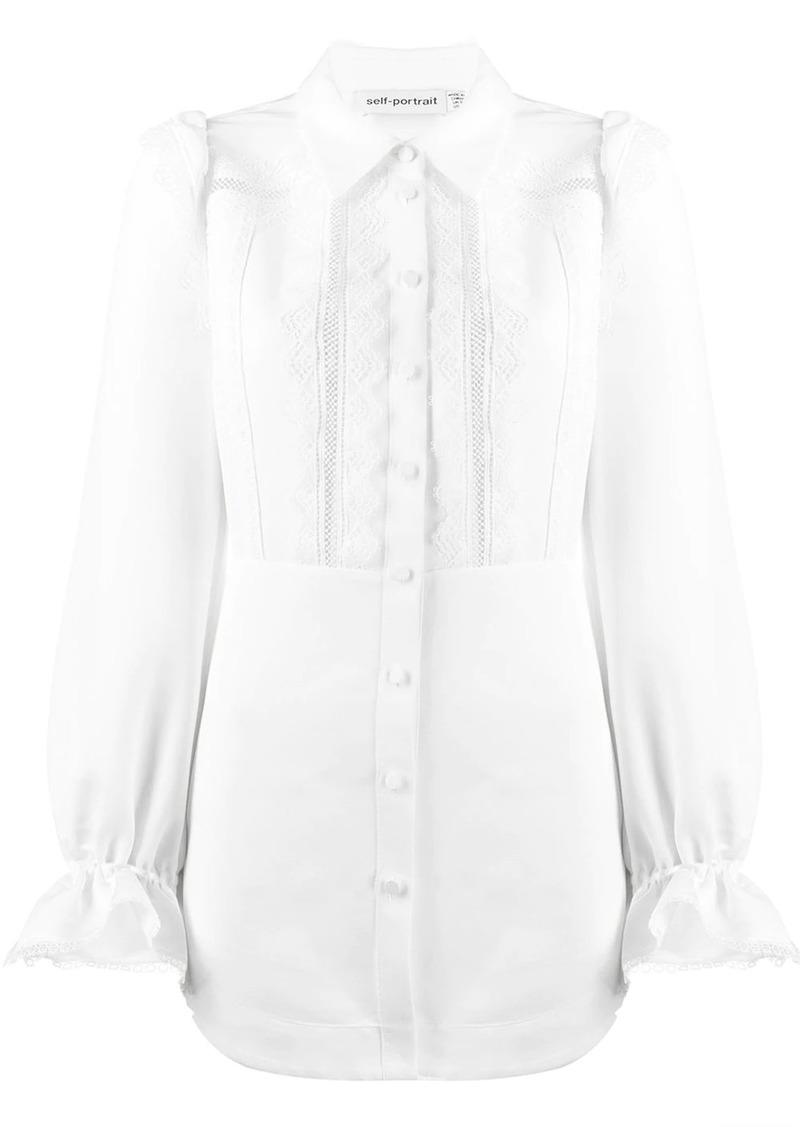 Self Portrait lace-insert shirt