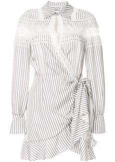 Self Portrait lace insert striped shirt dress