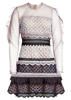 Self Portrait Lace Mini Dress with Ruffled Sleeves