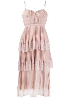 Self Portrait lace-panelled pleated dress