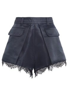 Self Portrait Lace-Trimmed Pleated Crepe Shorts
