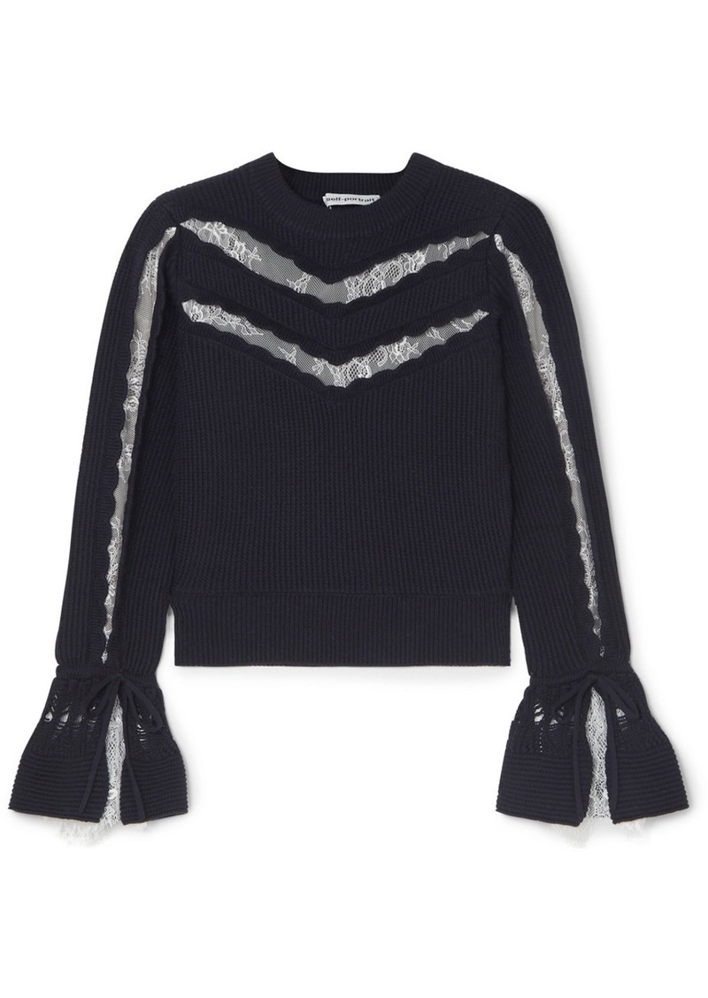 Self Portrait Lace-trimmed Ruffled Cotton And Wool-blend Sweater