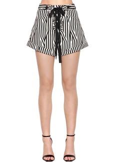 Self Portrait Lace-up Striped Cotton Shorts