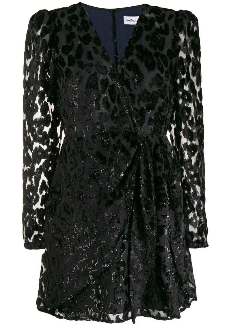 Self Portrait leopard print embellished dress