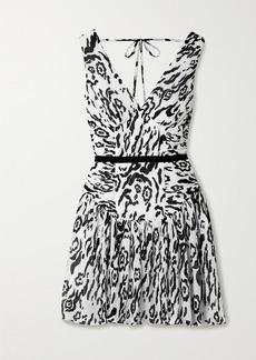 Self Portrait Leopard-print Plisse-chiffon Mini Dress