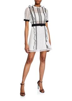 Self Portrait Monochrome Lace Frill Mini Dress