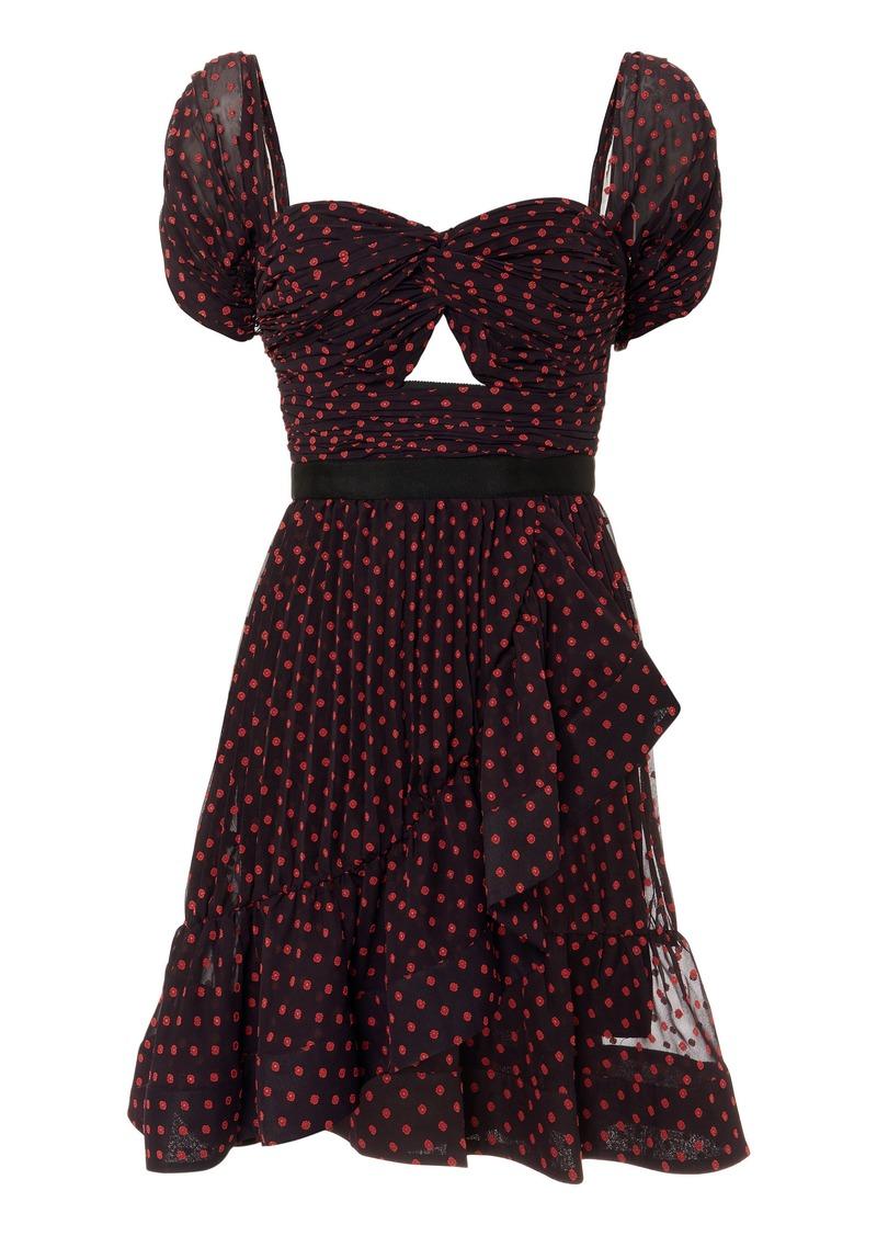 Self Portrait Off Shoulder Dotted Mini Dress