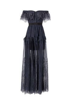 Self Portrait Off Shoulder Fine Lace Maxi Dress