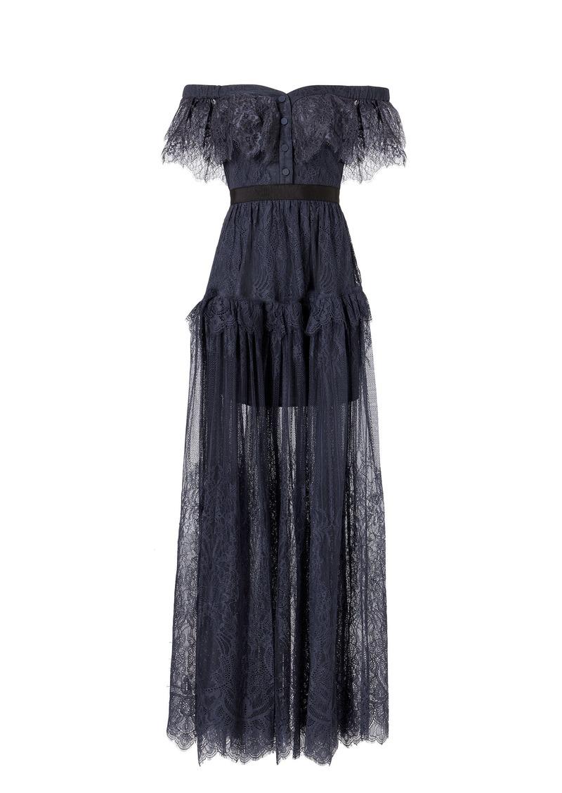 3287b4b7165ba Self Portrait Off Shoulder Fine Lace Maxi Dress | Dresses