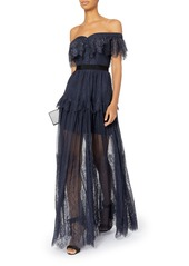 0f3f4492fa00 ... Self Portrait Off Shoulder Fine Lace Maxi Dress ...