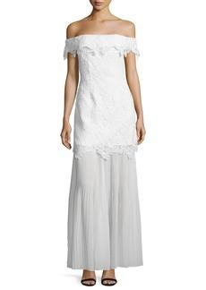 Self Portrait Off-the-Shoulder Guipure Lace Bridal Gown  White