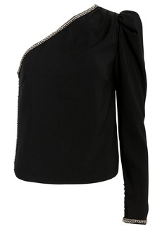 Self Portrait One-Shoulder Crepe Diamante Top