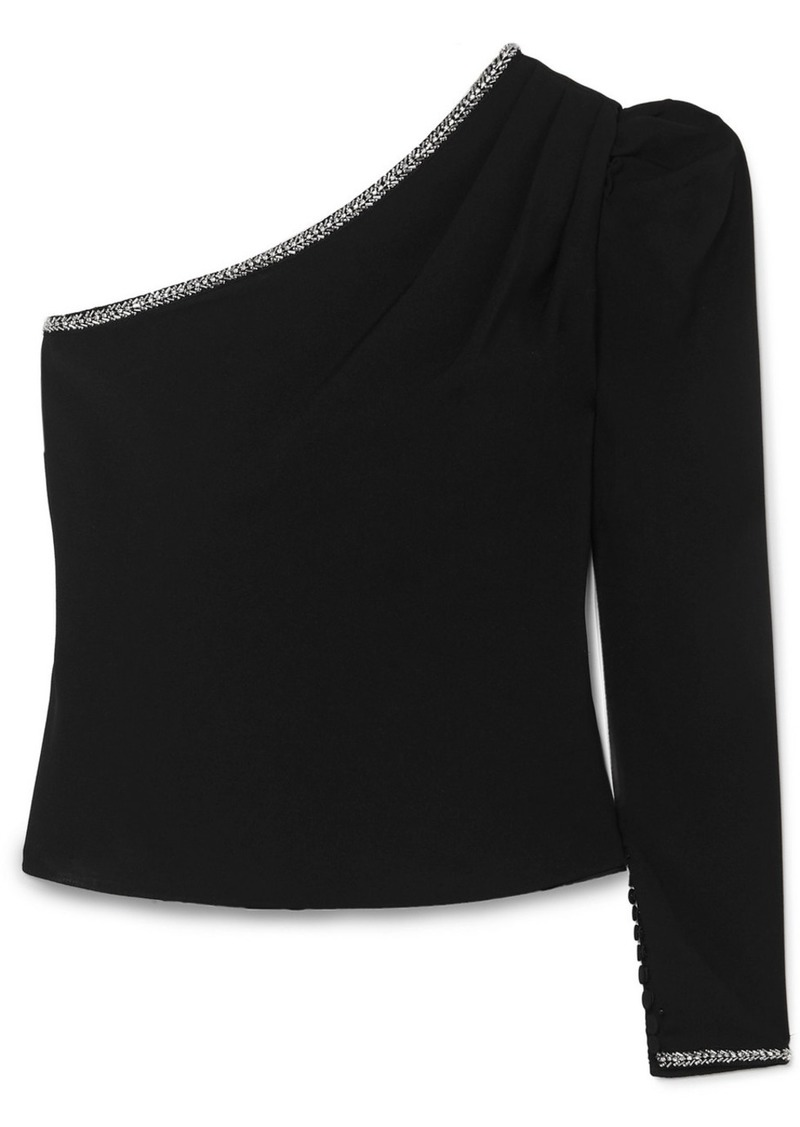 Self Portrait One-shoulder Embellished Crepe Top