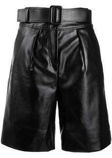 Self Portrait patent effect bermuda shorts