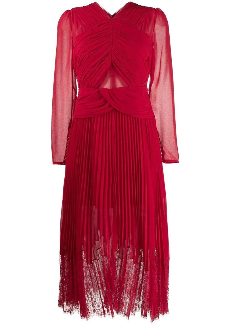 Self Portrait smocked lace midi dress