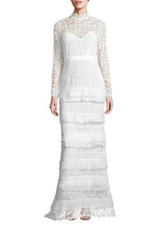 Self Portrait Primrose Tiered Lace Gown