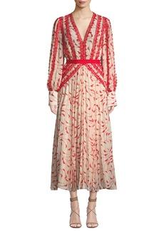 Self Portrait Printed Chiffon Lace Pleated Long-Sleeve Midi Dress