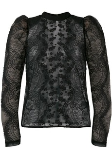 Self Portrait puff-sleeved lace blouse