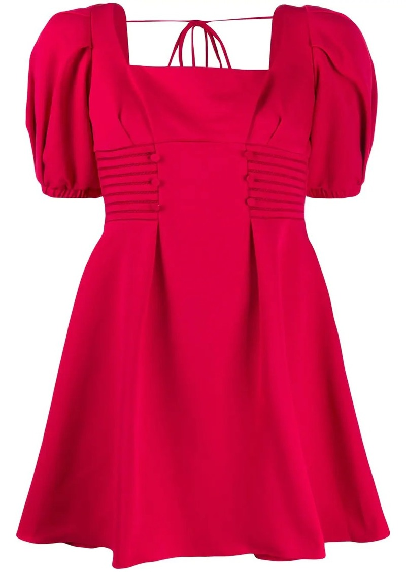 puffed sleeve square neck dress