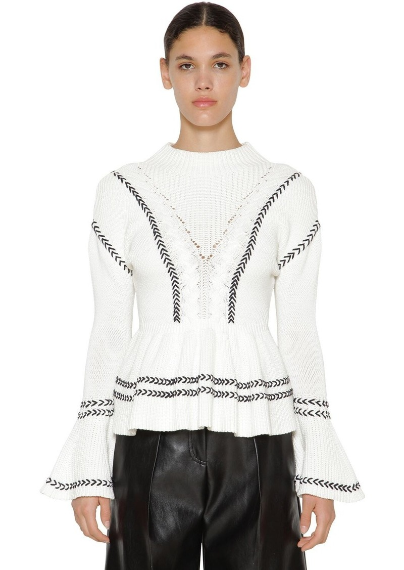 Self Portrait Ruffled Cotton Knitted Sweater