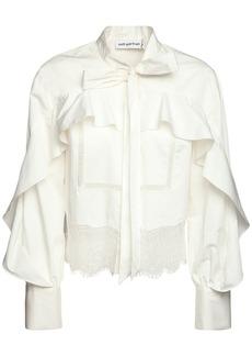 Self Portrait Ruffled Cotton Poplin Shirt