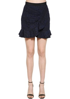 Self Portrait Ruffled Lace Mini Skirt