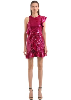 Self Portrait Ruffled Metallic Velvet Mini Dress