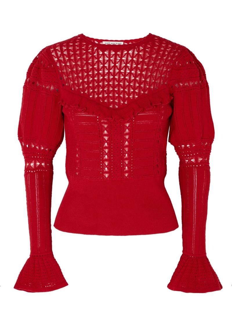 Self Portrait Ruffled Open-knit Cotton Sweater