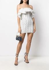 Self Portrait ruffled sleeveless polka dot dress