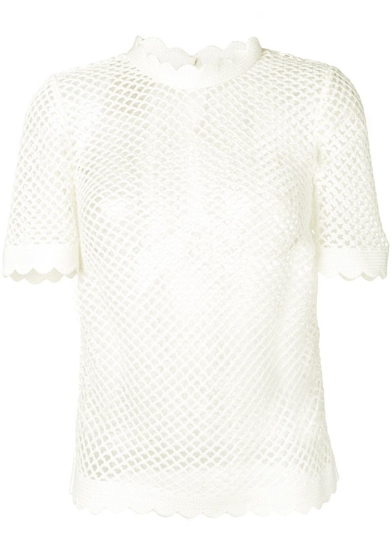Self Portrait scalloped trim woven T-shirt