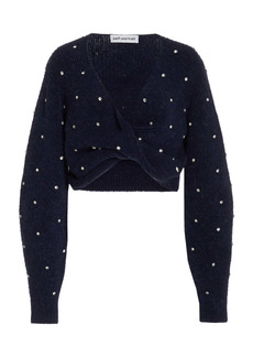 Self Portrait - Women's Diamante Embellished Twist-Front Cropped Sweater - Navy - Moda Operandi