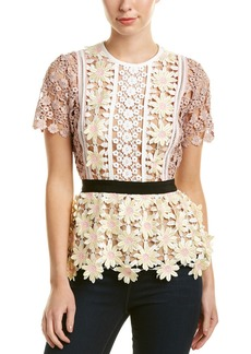 Self Portrait 3D Floral Peplum Top