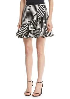 Self Portrait Abstract-Stripe Flared Ruffle Skirt