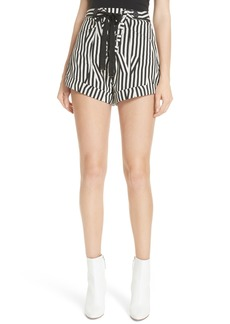 Self Portrait Self-Portrait Abstract Stripe Lace-Up Shorts
